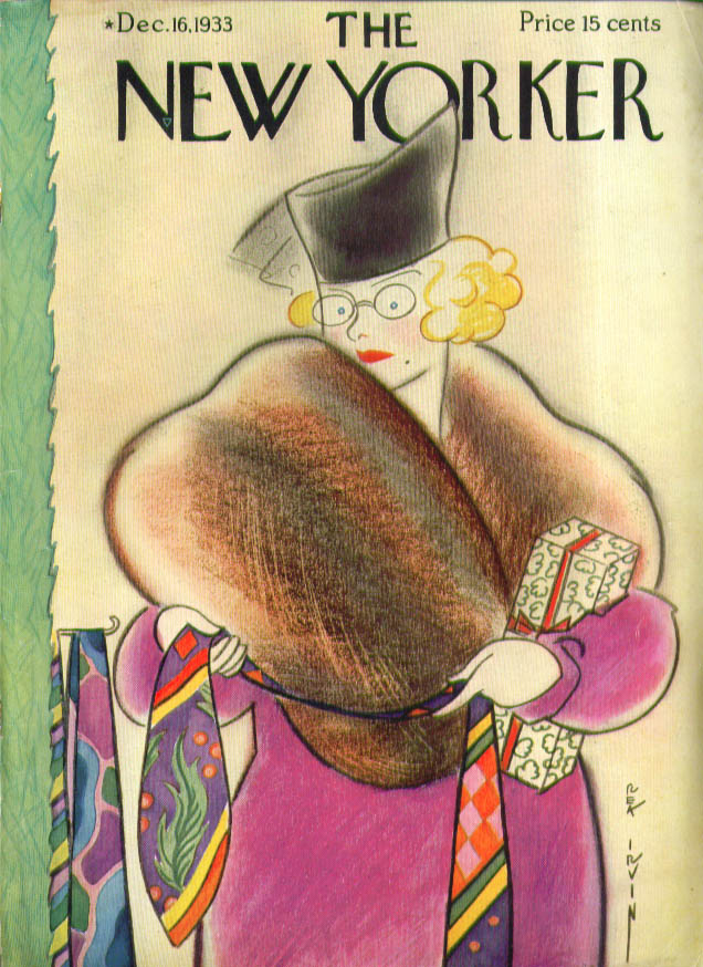 New Yorker cover Irvin Fur-stoled blonde picks tie 12/16 1933 1934 Packard ad