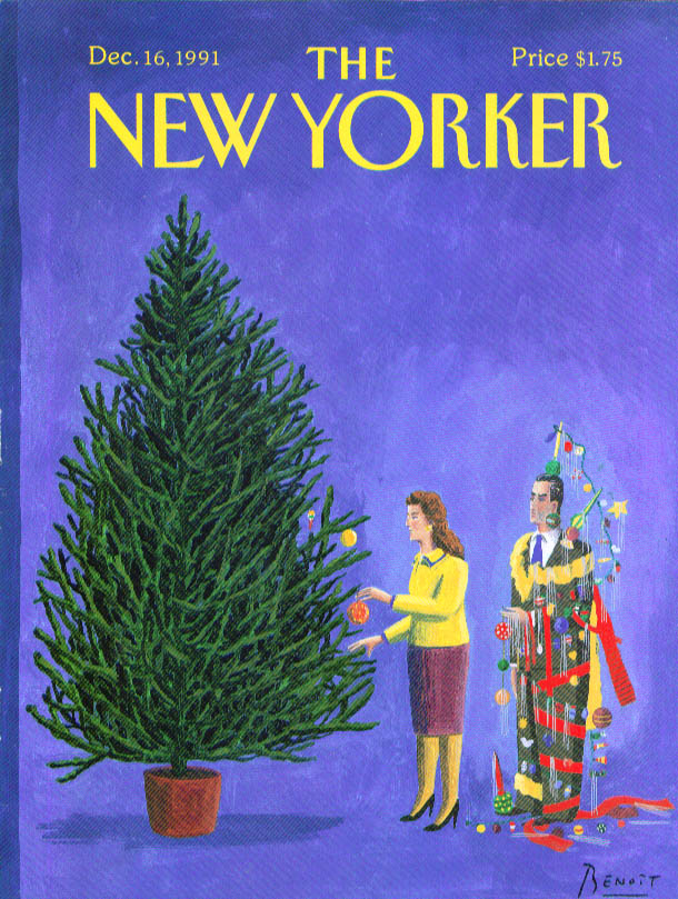 New Yorker cover Benoit decorating Christmas tree 12/16 1991