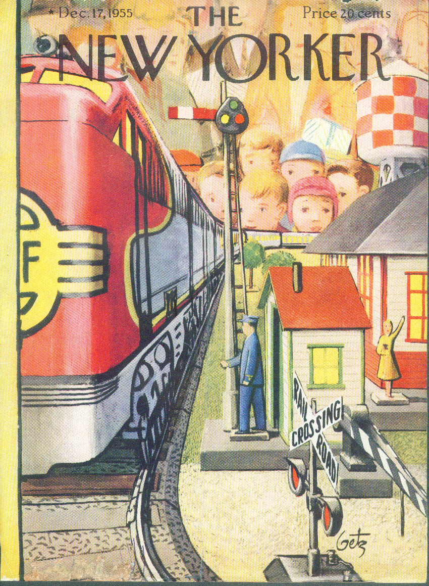 New Yorker cover Getz electric trains Christmas toy shopping 12/17 1955