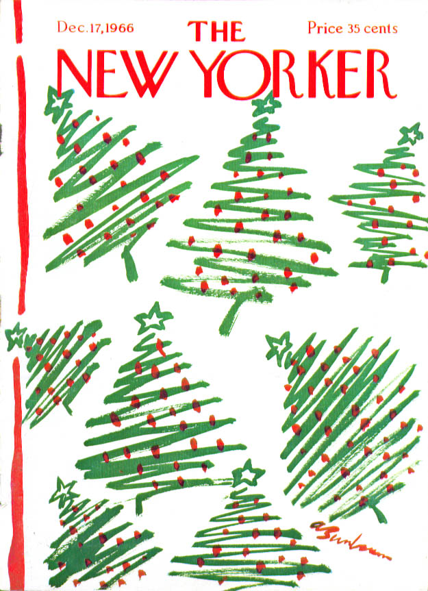 New Yorker cover Birnbaum many Xmas trees 12/17 1966