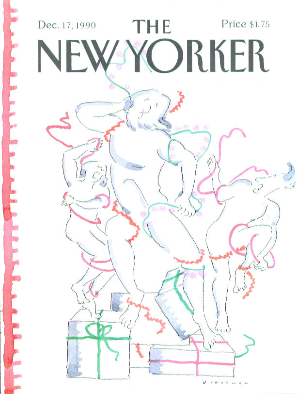 New Yorker cover Blechman Christmas wrap statues 12/17 1990