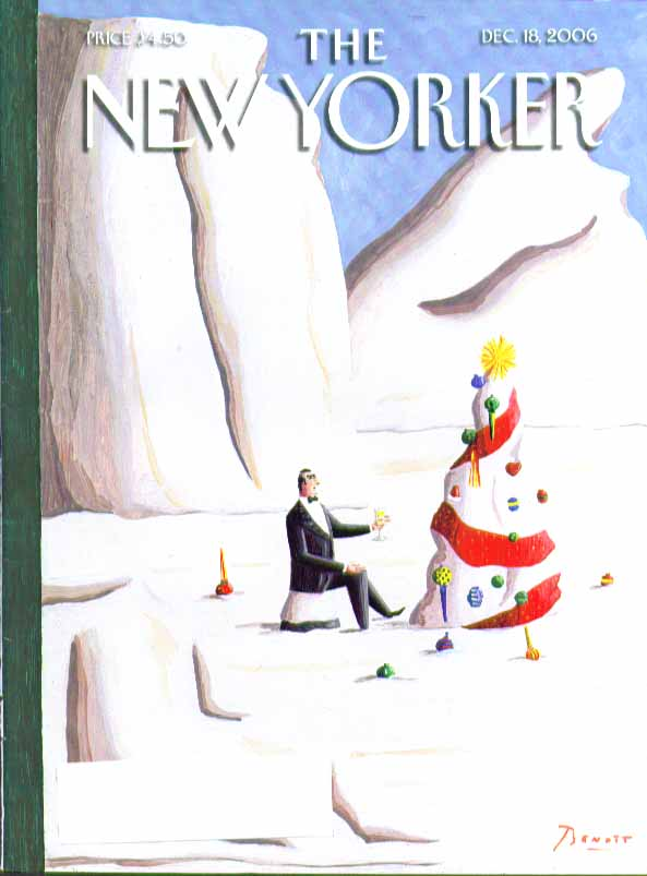 New Yorker cover Benoit tuxedo man toasts melting ice Christmas tree 12/18 2006