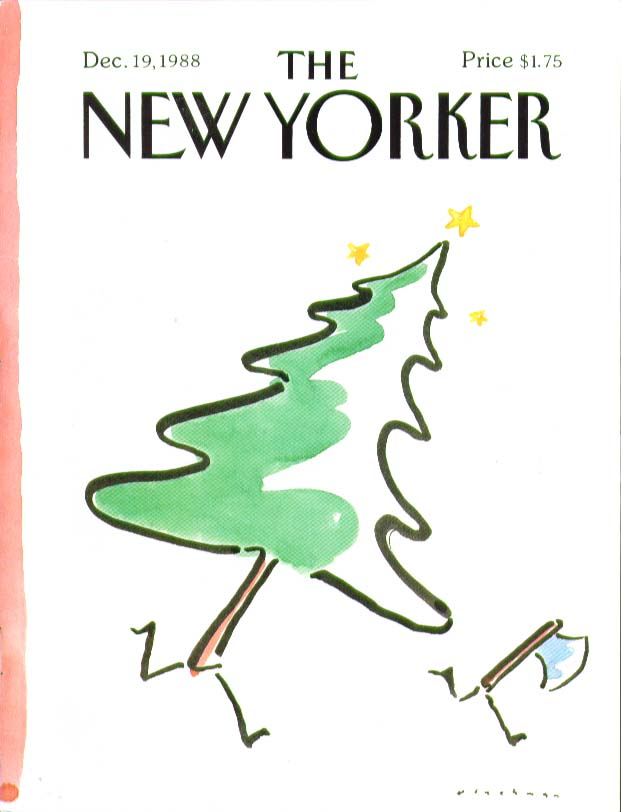 New Yorker cover Blechman Christmas tree chases ax 12/19 1988