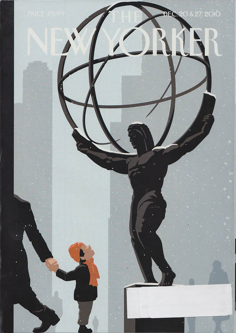 New Yorker cover 12/20 12/27 2010 Niemann: red scarf for naked statue