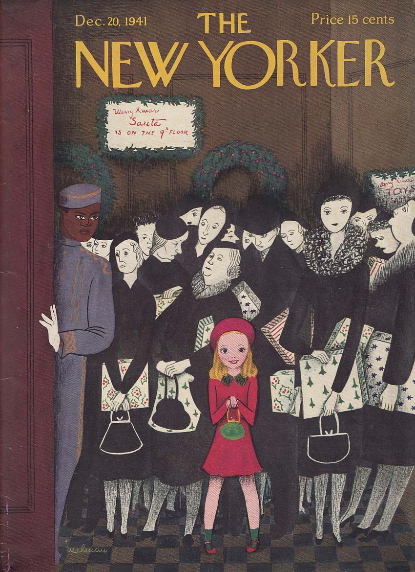 New Yorker cover 12/20 1941 Malman little girl in red in Christmas elevator