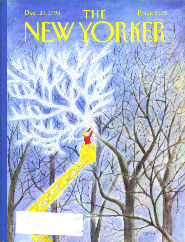 New Yorker cover Sempe hanging Christmas lights 12/20 1993