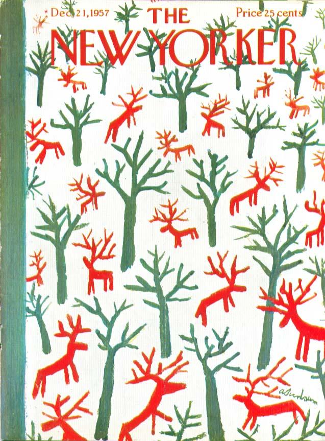 New Yorker cover Birnbaum red reindeer woods 12/21 1957