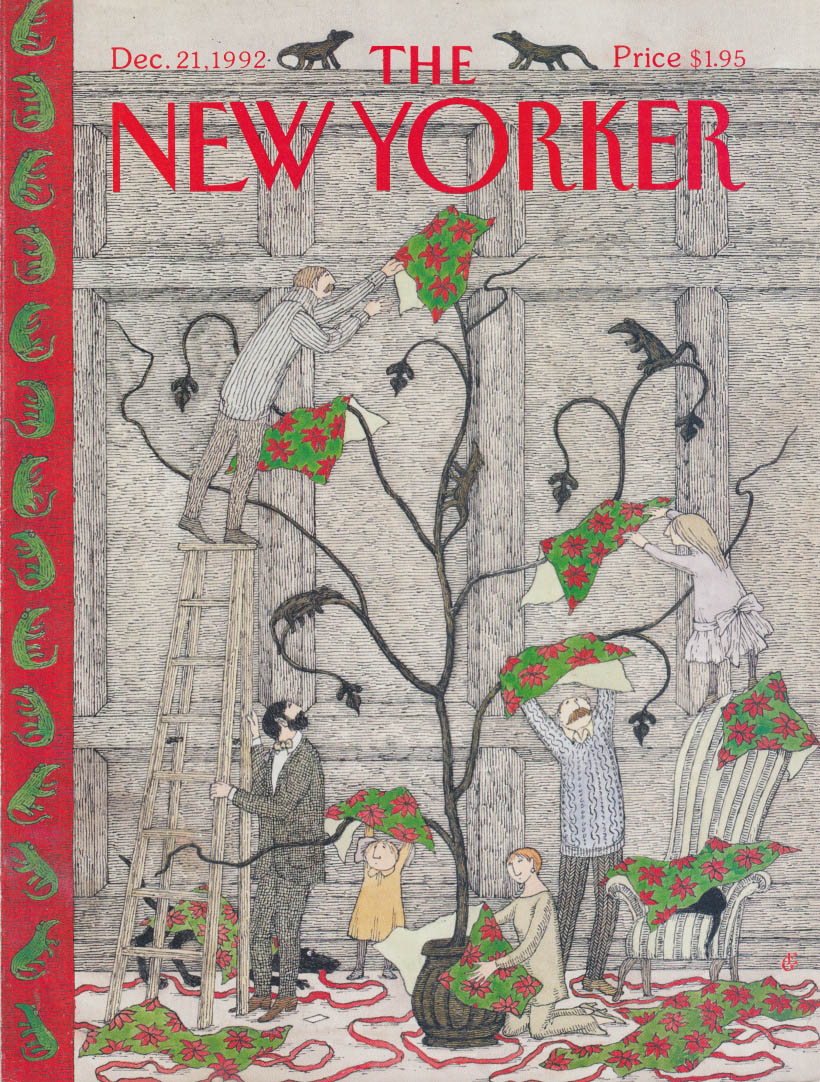 New Yorker cover 12/21 1992 Edward Gorey: decorating the Christmas tree