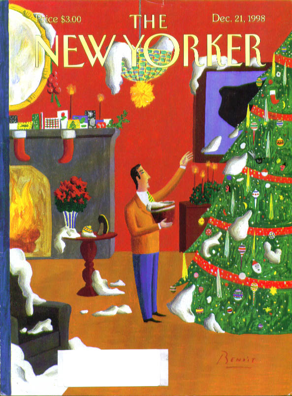 New Yorker cover Benoit real snow Christmas tree decor 12/21 1998