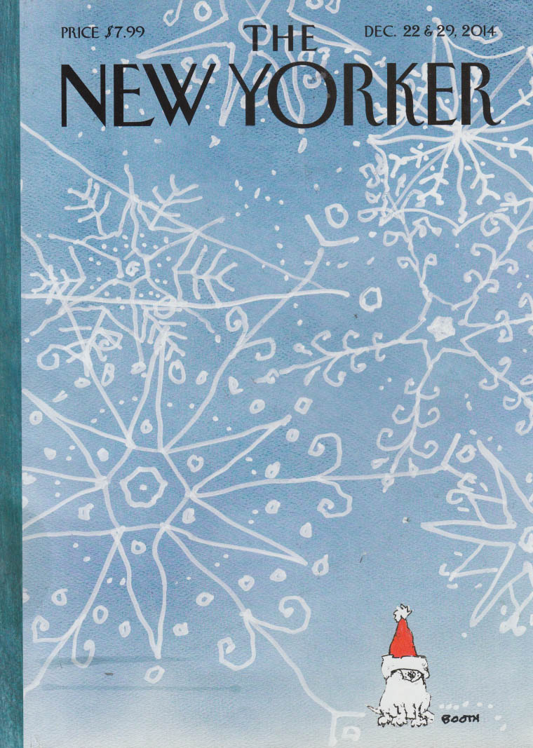 New Yorker cover 12/22-29 2014 George Booth dog in Santa hat under snowflakes