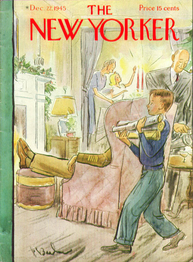 New Yorker cover Barlow veteran family Christmas day fireplace 12/22 1945