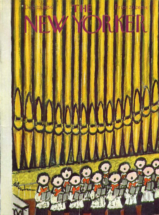 New Yorker cover Birnbaum organ & boys choir 12/22 1956