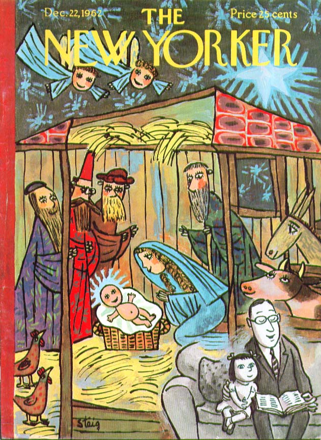 New Yorker cover W Steig Dad reads Nativity Story to girl 12/22 1962