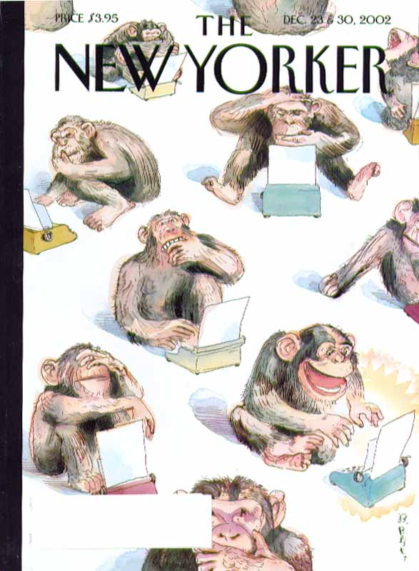 New Yorker cover Barry Blitt chimpanzees with writer's block 12/23 & 12/30 2002