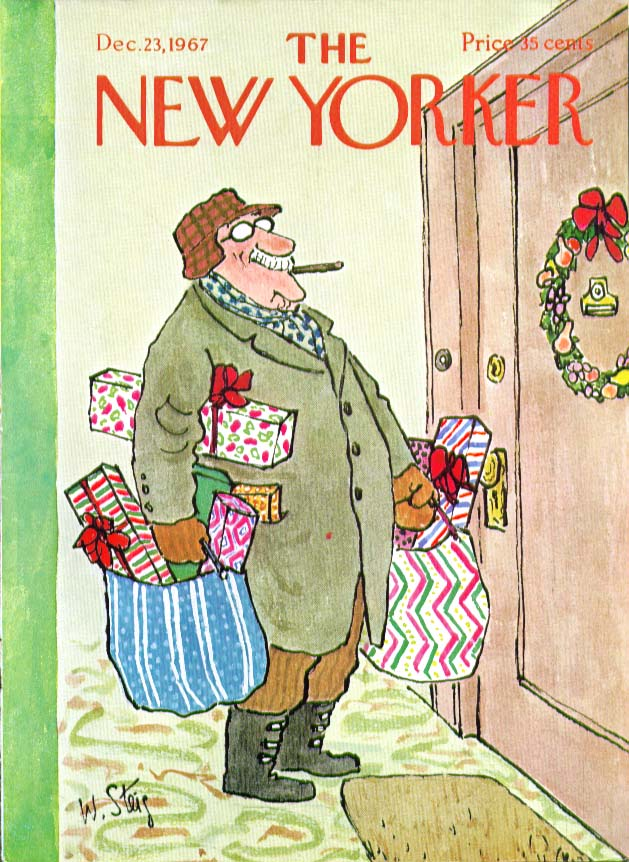New Yorker cover Steig Grampa brings Christmas gifts 12/23 1967