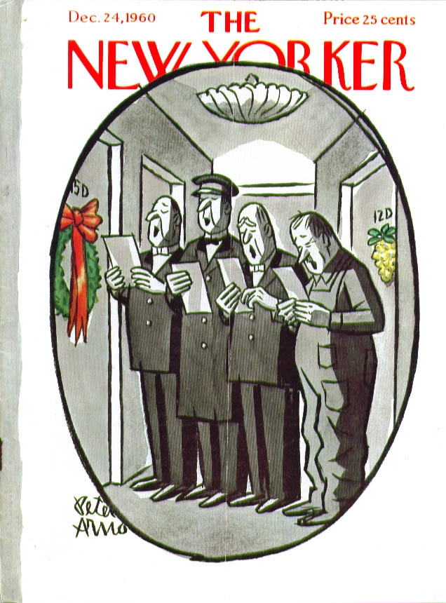 New Yorker cover Arno apartment staff Christmas carols 12/24 1960