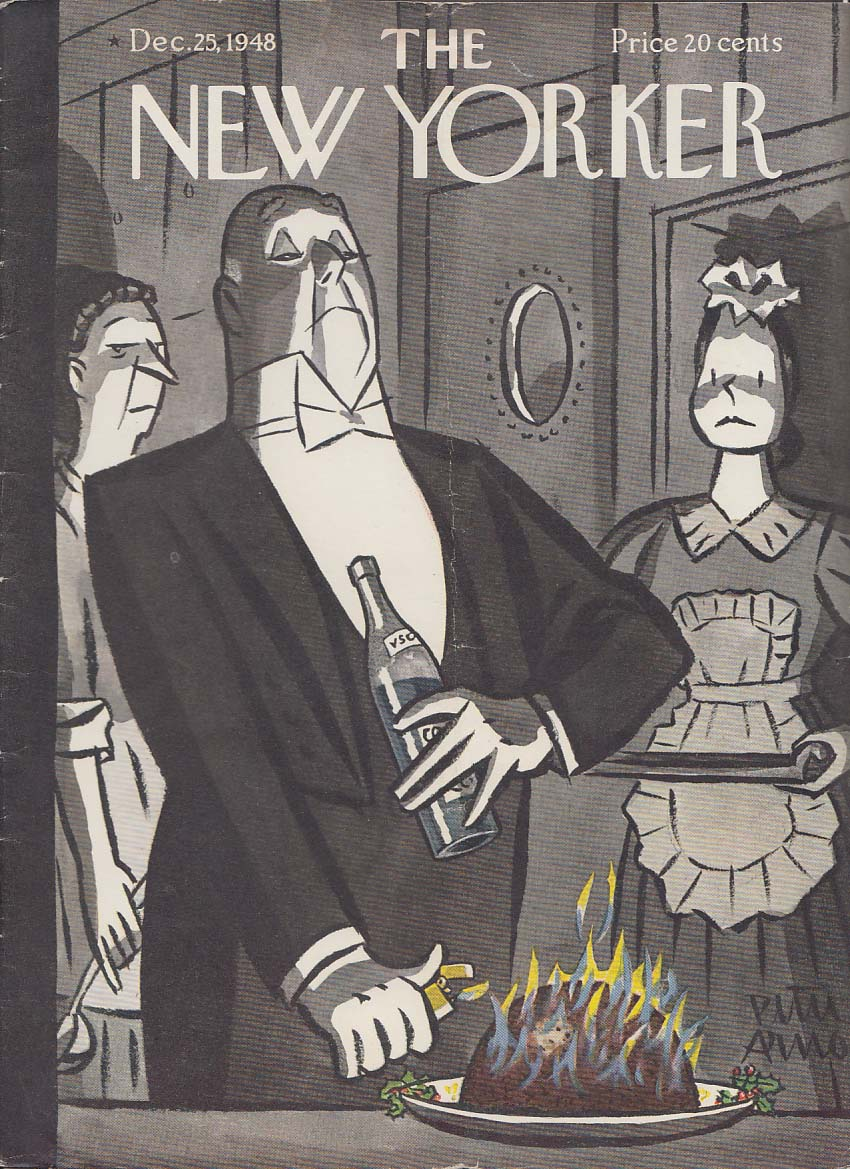 New Yorker cover Arno Christmas plum pudding lit 12/25 1948