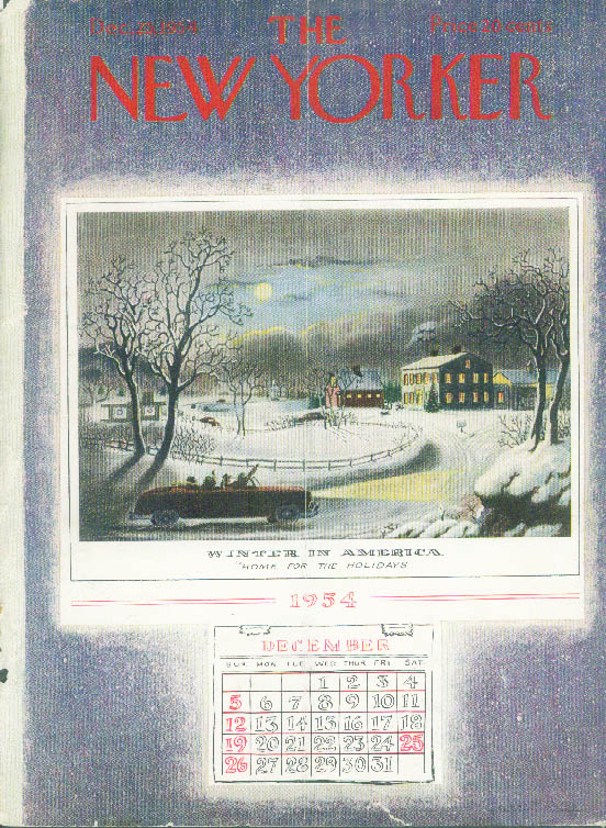 New Yorker cover Price Currier & Ives update 12/25 1954