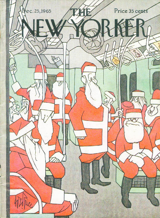 New Yorker cover Price subway car full of department store Santas 12/25 1965
