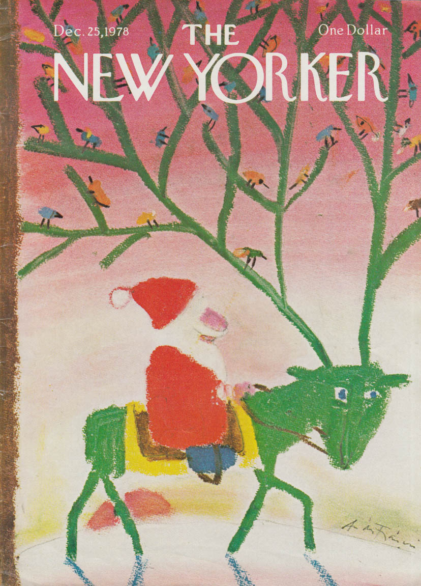 New Yorker cover 12/25 1978 Frasconi: Santa on green reindeer w/ birds