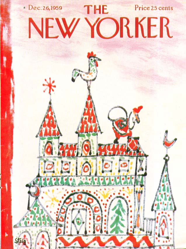 New Yorker cover Steig Santa on rooftop 12/26 1959