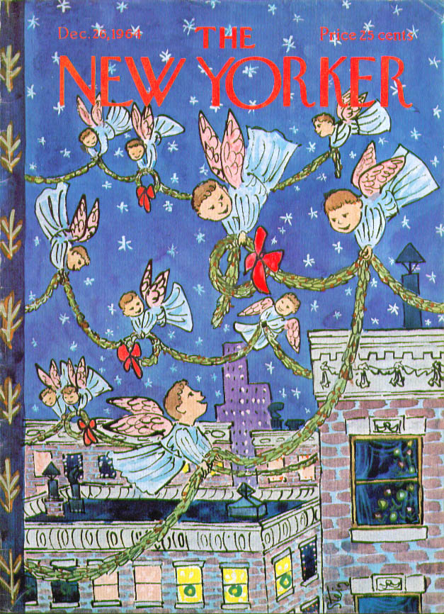 New Yorker cover Steig angel wreaths above 12/26 1964