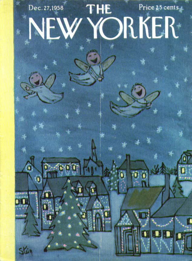 New Yorker cover Steig angels over village 12/27 1958