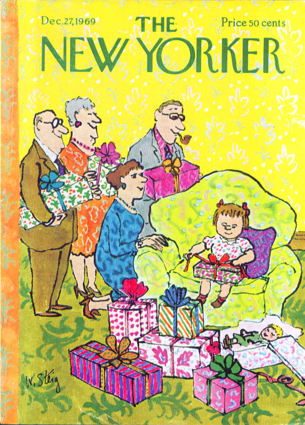 New Yorker cover Steig 1 girl many gifts 12/27 1969