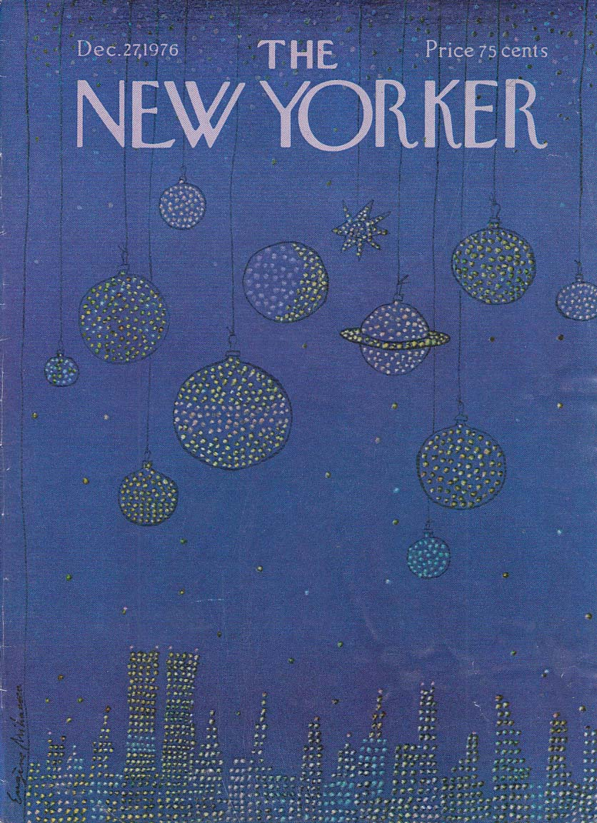 New Yorker cover 12/27 1976 Mihaesco Christmas ornaments as night stars over NY