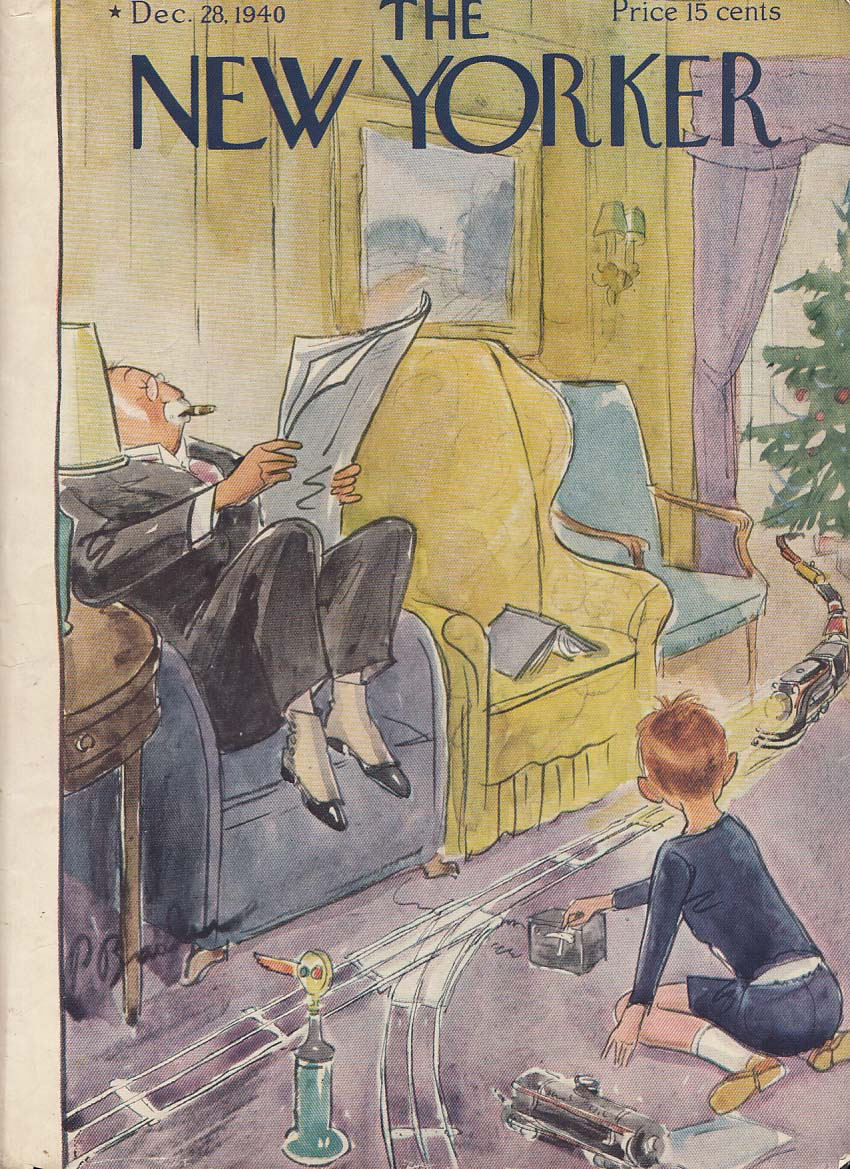 New Yorker cover 12/28 1940 Barlow grandpa raises feet avoids toy electric train