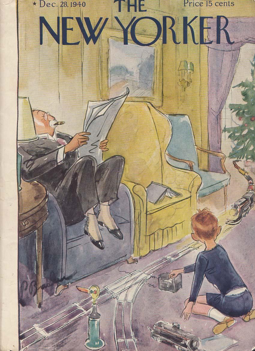 New Yorker cover 12/28 1940 Barlow grandpa raises feet avoids toy electric train