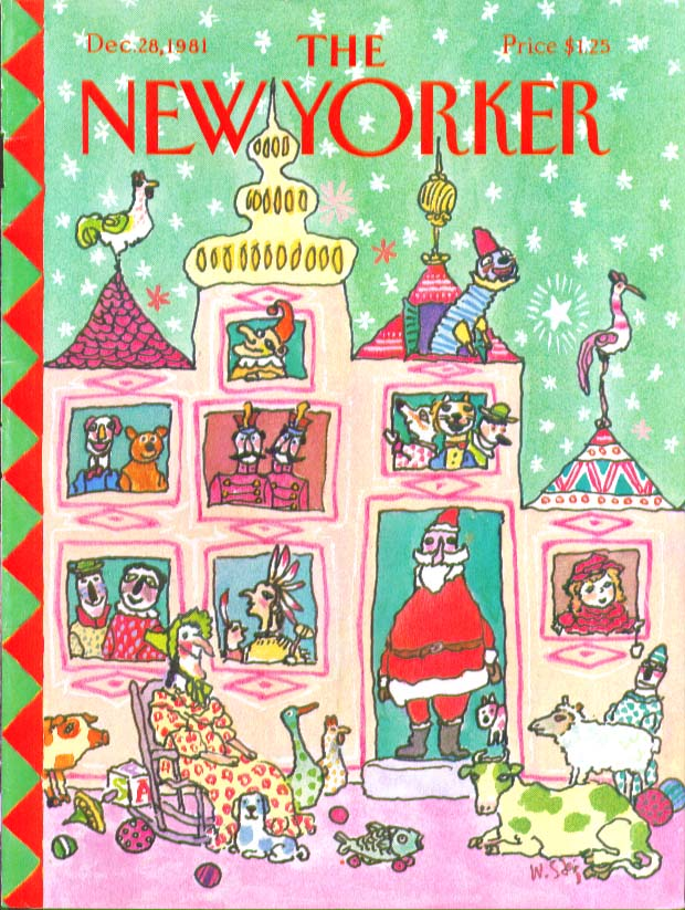 New Yorker cover Steig Santa doll house 12/28 1981