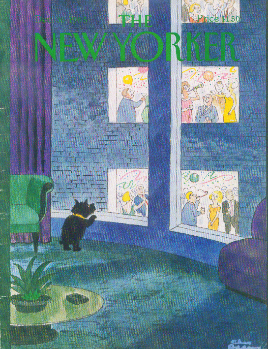 New Yorker cover Addams dog New Year's 12/30 1985
