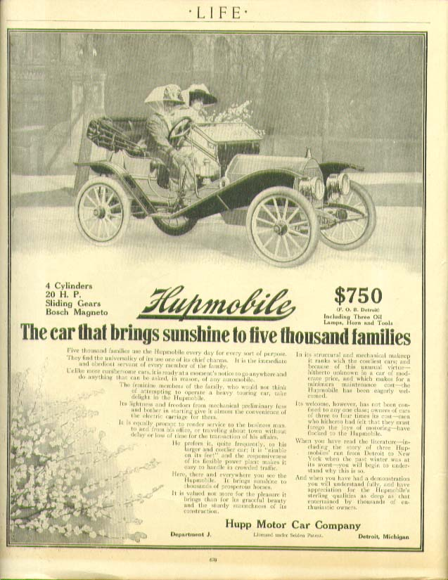 Image for The car that brings sunshine to five thousand families Hupmobile ad 1910