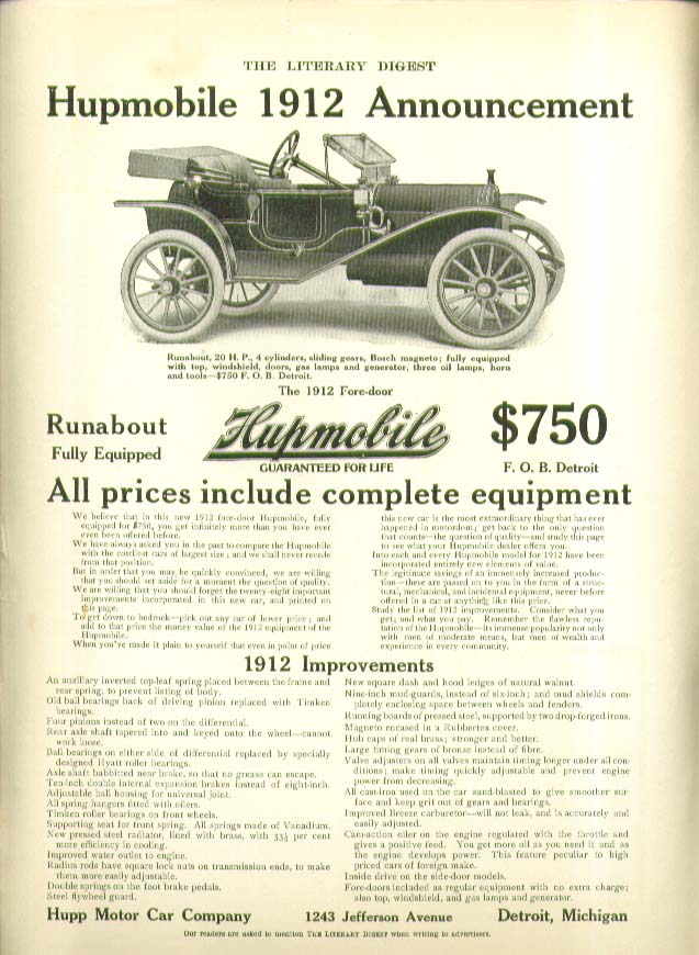 1912 Announcement Runabout fully equipped $750 Hupmobile ad 1912