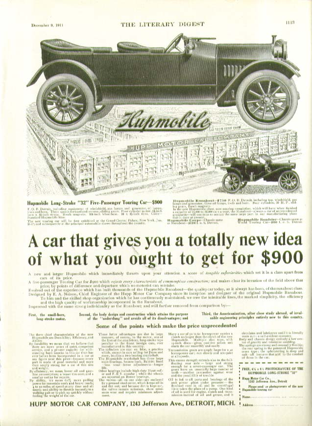Image for A car that gives you a totally new idea of $900 Hupmobile ad 1912