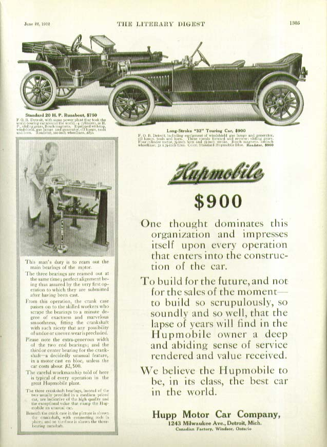 One thought dominates this organization $900 Hupmobile ad 1912