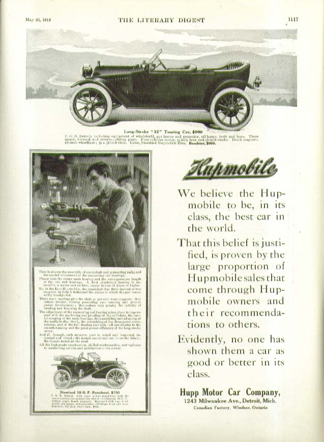 We believe the Hupmobile to be best in its class in the world ad 1912