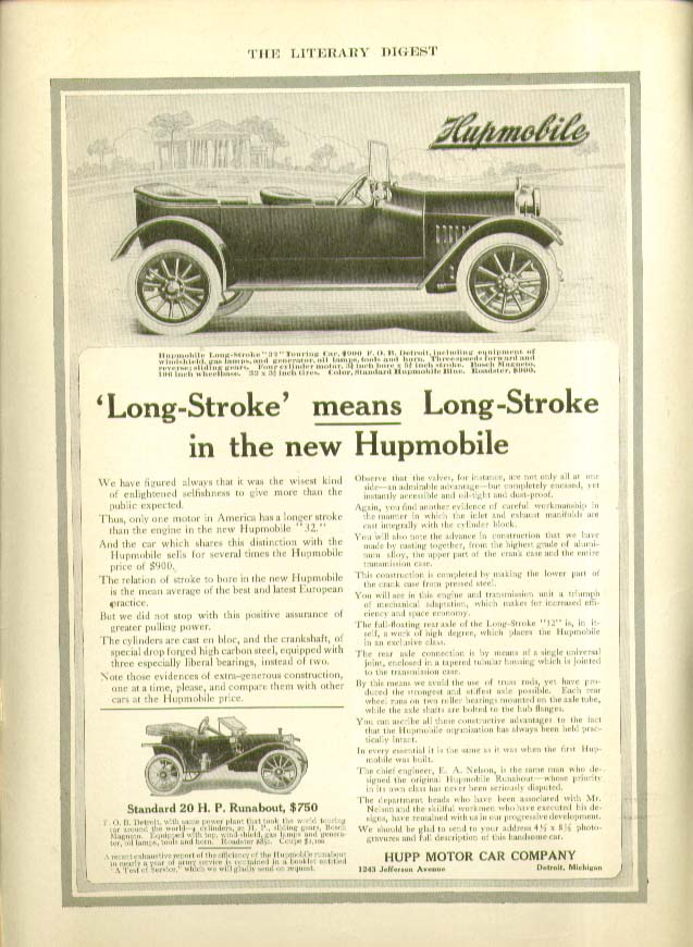 Long-Strke MEANS Long Stroke in the new Hupmobile ad 1912