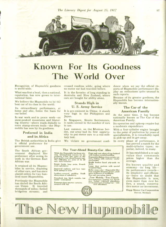 Image for Known For Its Goodness The World Over Hupmobile ad 1917