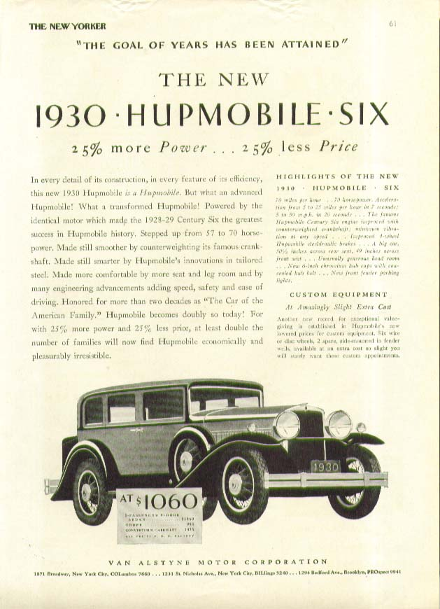 Image for 25% more Power 25% less Price The 1930 Hupmobile Six ad 1929