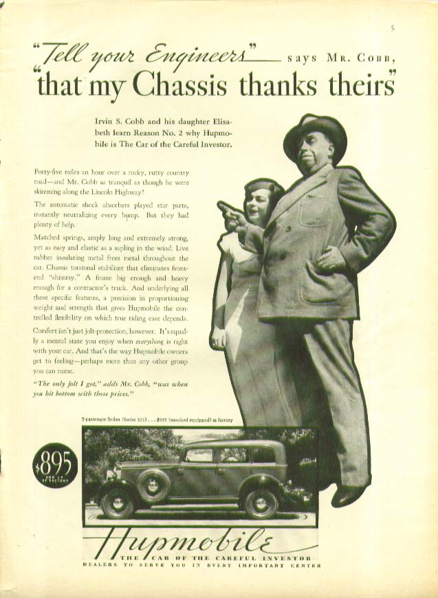 Image for Tell your engineers my chassis thanks theirs Hupmobile ad 1933 Irvin S Cobb
