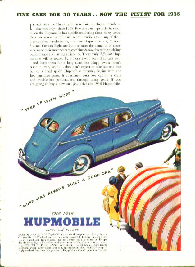 Fine car for 30 years now the finest for 1938 Hupmobile ad Time