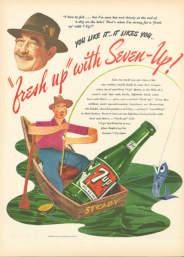 Image for I love to fish! Fresh Up with 7up 1946 ad rowboat