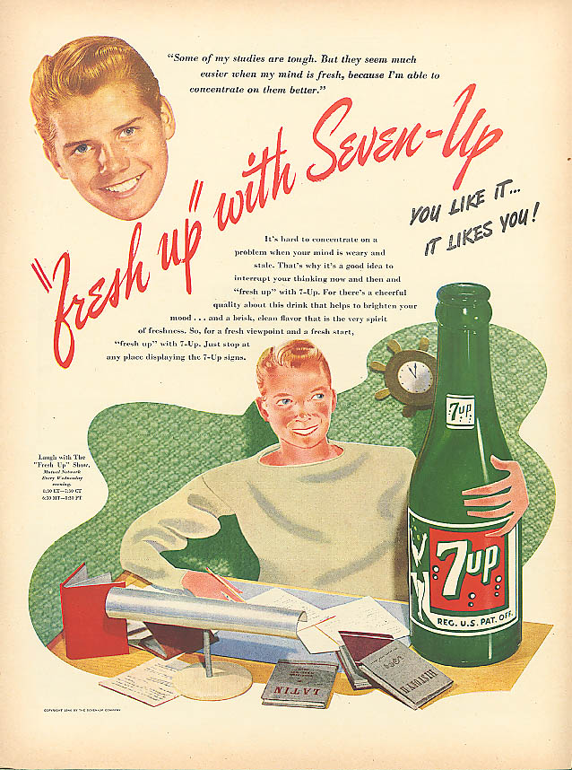 Image for Some of my studies are tough 1946 7up ad redhead