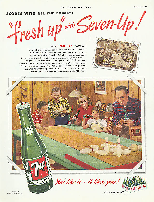 Scores with all the family 1950 7up ad tabletop bowling