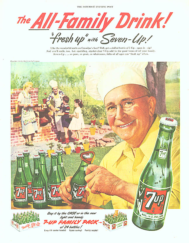 All-Family Drink 1952 7up ad cookout chef's hat