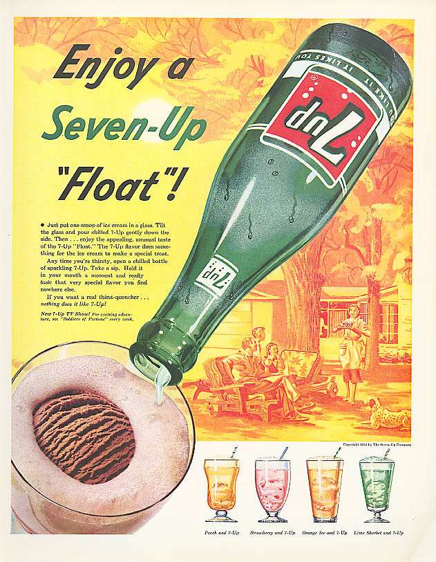 Enjoy a 7up Float ad 1955 Mom serves in backyard