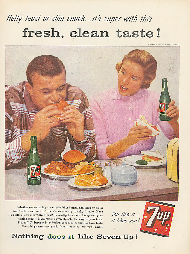 Hefty feast slim snack 1957 7up ad burgers & beans BLT