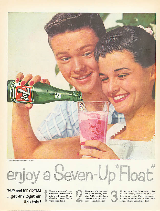 Image for Enjoy a 7up Float 1958 ad girl pours for boy